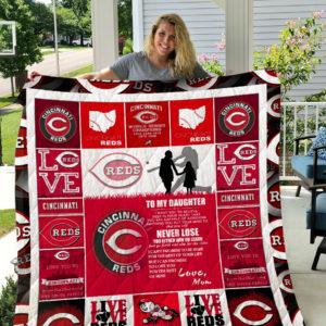 Cincinnati Reds – To My Daughter – Love Mom Quilt Blanket