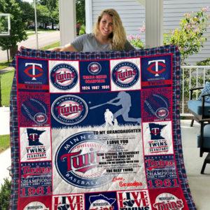 Minnesota Twins – To My Granddaughter – Love Grandpa Quilt Blanket