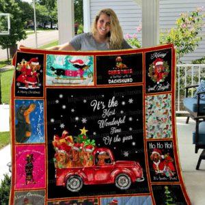 Dachshund – Christmas Quilt Blanket 02