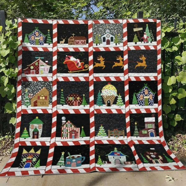 Christmas Santa Claus Is Coming To Town Quilt Blanket Great Customized Blanket Gifts For Birthday Christmas Thanksgiving