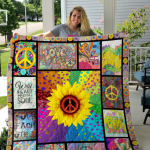 Hippie Sunflower Good Vibes Quilt Blanket Great Customized Gifts For Birthday Christmas Thanksgiving Perfect Gifts For Hippie