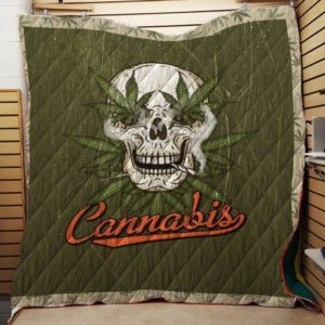 Skull Cannabis Quilt Blanket Great Customized Blanket Gifts For Birthday Christmas Thanksgiving