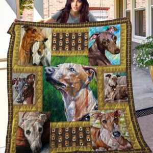 Greyhound Drawing Art Quilt Blanket Great Customized Blanket Gifts For Birthday Christmas Thanksgiving
