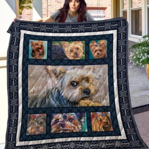 Yorkshire Terrier Painting Quilt Blanket Great Customized Blanket Gifts For Birthday Christmas Thanksgiving
