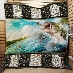 Bass Fishing Washable Handmade Quilt Blanket