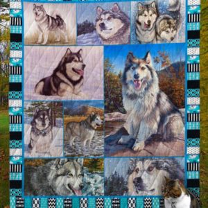 Snowy Alaskan Malamute Dog Quilt Blanket Great Customized Blanket Gifts For Birthday Christmas Thanksgiving