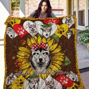 Sunflower Alaskan Malamute Mom Quilt Blanket Great Customized Blanket Gifts For Birthday Christmas Thanksgiving