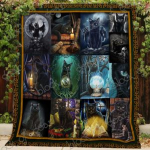 Black Cat Witch Quilt Blanket Great Customized Gifts For Birthday Christmas Thanksgiving Perfect Gifts For Cat Lover