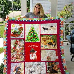 Mary Christmas Dachshund Quilt Blanket