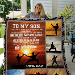 Personalized Karate To My Son Quilt Blanket From Dad I Can Promise To Love You For The Rest Of Mine Great Customized Blanket Gifts For Birthday Christmas Thanksgiving