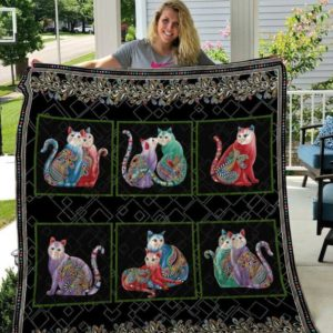 Colorful Cat Flower Pattern Quilt Blanket Great Customized Gifts For Birthday Christmas Thanksgiving Perfect Gifts For Cat Lover