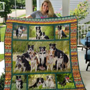 Border Collie 8 Quilt Blanket