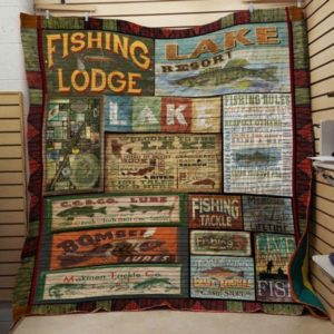 Fishing Lodge Quilt Blanket Great Customized Gifts For Birthday Christmas Thanksgiving Perfect Gifts For Fishing Lover
