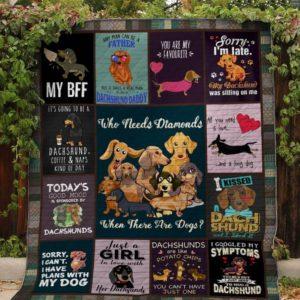 My Bff Dachshund Quilt Blanket