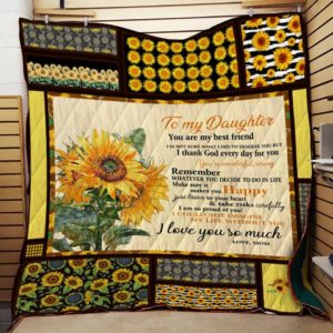 Personalized Sunflower To My Daughter From Mom You Are My Best Friend Quilt Blanket Great Customized Gifts For Birthday Christmas Thanksgiving Perfect Gifts For Sunflower Lover