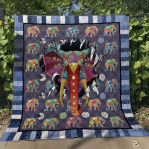 Elephant With Trippy Quilt Blanket Great Customized Gifts For Birthday Christmas Thanksgiving Perfect Gifts For Elephant Lover