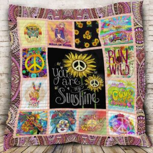 Hippie Sunflower Walk In Peace Quilt Blanket Great Customized Gifts For Birthday Christmas Thanksgiving Perfect Gifts For Sunflower Lover