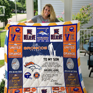 Denver Broncos, To My Son Quilt Blanket