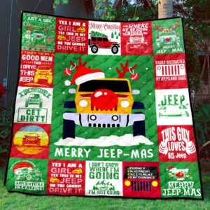 Merry Jeep-Mas Jeep Automobile Christmas Quilt Blanket