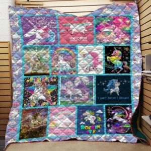 Unicorn I Don't Sweat I Sparkle Quilt Blanket Great Customized Gifts For Birthday Christmas Thanksgiving Perfect Gifts For Unicorn Lover