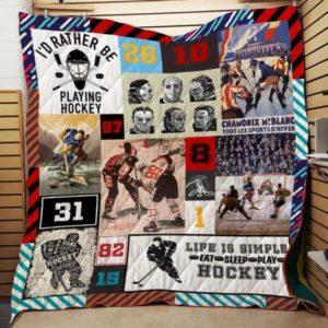 Hockey: Life Is Simple Quilt Blanket