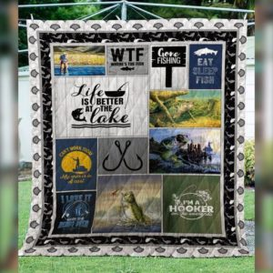 Gone Fishing Life Is Better At The Lake Quilt Blanket Great Customized Gifts For Birthday Christmas Thanksgiving Perfect Gifts For Fishing Lover