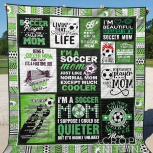 Soccer I'm Beautiful Because I'm A Soccer Mom Quilt Blanket Great Customized Gifts For Birthday Christmas Thanksgiving Mother's Day Perfect Gifts For Soccer Lover