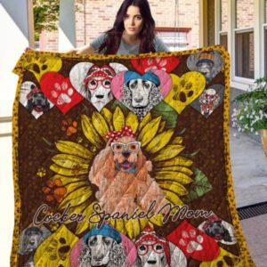 Sunflower Cocker Spaniel Mom Quilt Blanket Great Customized Blanket Gifts For Birthday Christmas Thanksgiving
