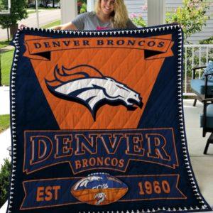 Denver Broncos 2 Quilt Blanket Fan Made