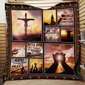 Jesus The Bible Is Our Compass Quilt Blanket Great Customized Gifts For Birthday Christmas Thanksgiving Perfect Gifts For Jesus Lover