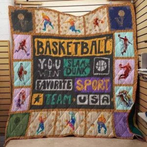 Basketball Favorite Sport Team Quilt Blanket Great Customized Gifts For Birthday Christmas Thanksgiving Perfect Gifts For Basketball Lover