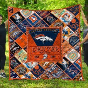 Denver Broncos Quilt Blanket Fan Made