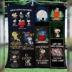 Snoopy Quotes Quilt Blanket