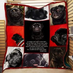 Black Pug I'll Always Be By Your Side Quilt Blanket Great Customized Blanket Gifts For Birthday Christmas Thanksgiving