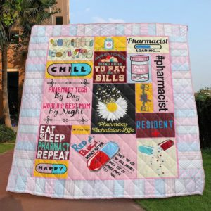 Pharmacy Tech By Day World's Best Mom By Night Quilt Blanket Great Customized Gifts For Birthday Christmas Thanksgiving Mother's Dayperfect Gifts For Pharmacy