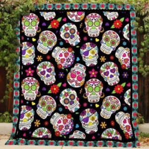 Sugar Skull With Flower Pattern Quilt Blanket Great Customized Gifts For Birthday Christmas Thanksgiving Perfect Gifts For Skull Lover