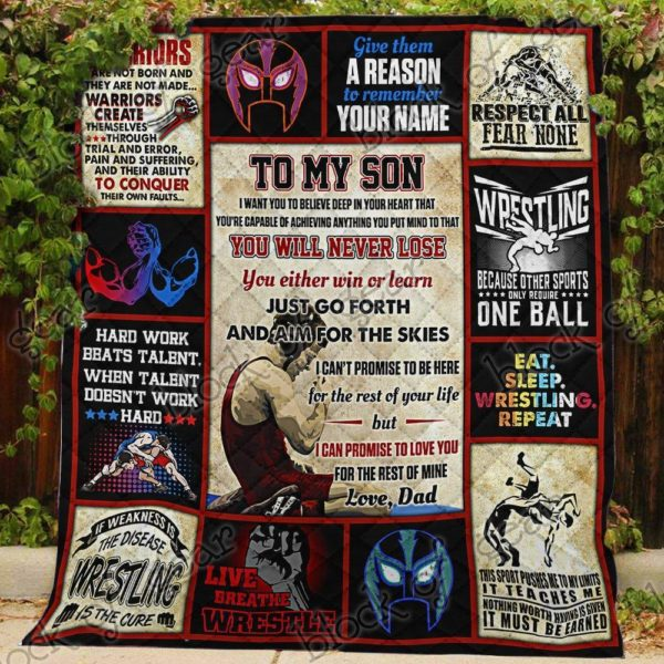 Personalized Wrestling To My Son From Dad Hard Work Beats Talent Quilt Blanket Great Customized Gifts For Birthday Christmas Thanksgiving Perfect Gifts For Wrestling Lover