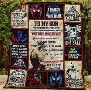 Wrestling Son, Love, Dad Quilt Blanket
