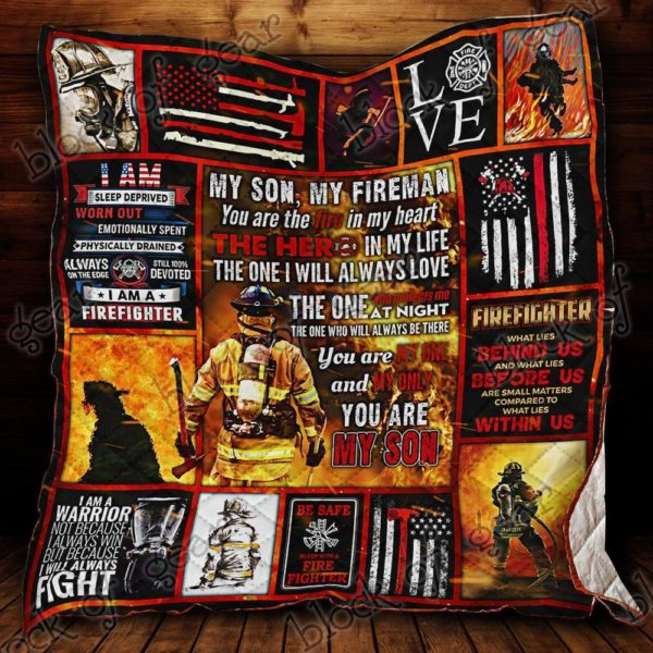 My Son My Fireman You Are The Fire In My Heart Quilt Blanket Great Customized Gifts For Birthday Christmas Thanksgiving Perfect Gifts For Firefighter