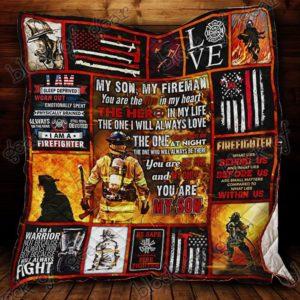My Son, My Fireman Quilt Blanket