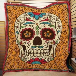 Sugar Skull Orange Quilt Blanket Great Customized Gifts For Birthday Christmas Thanksgiving Perfect Gifts For Skull Lover