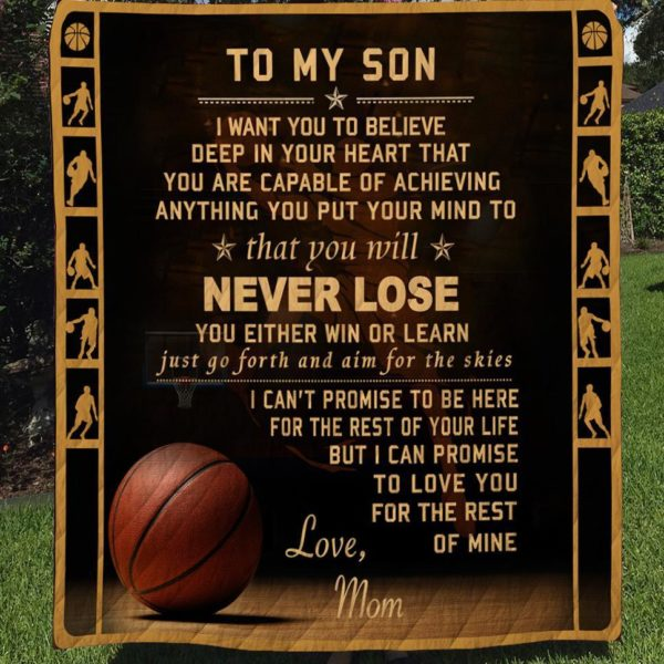 Personalized Basketball To My Son From Mom Achieving Anything You Put Your Mind To Quilt Blanket Great Customized Gifts For Birthday Christmas Thanksgiving Perfect Gifts For Basketball Lover