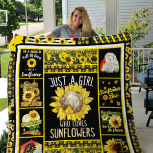 Just A Girl Who Loves Sunflowers Quilt Blanket Great Customized Gifts For Birthday Christmas Thanksgiving Perfect Gifts For Sunflower Lover