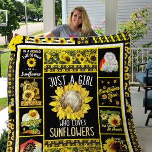 Just A Girl Who Loves Sunflowers Sunflower Quilt Blanket