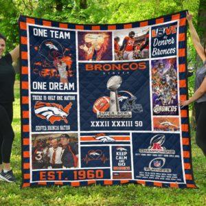 Denver Broncos Football Quilt Blanket Fan Gift