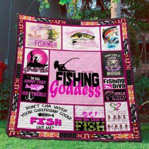 Fishing Goddess Quilt Blanket