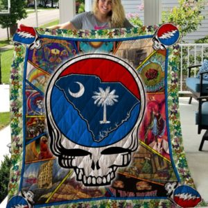 South Carolina On The Skull Quilt Blanket Great Customized Blanket Gifts For Birthday Christmas Thanksgiving