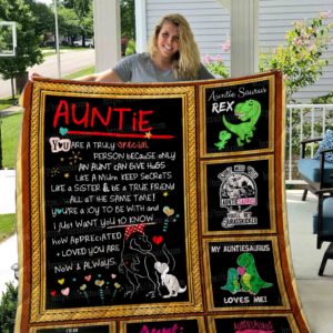 Dinosaur Auntie You Are Trully Special Quilt Blanket Great Customized Gifts For Birthday Christmas Thanksgiving Perfect Gifts For Dinosaur Lover