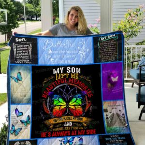 My Missing Son Left Me Beautiful Memories Quilt Blanket Great Customized Gifts For Birthday Christmas Thanksgiving Perfect Gifts For Butterfly Lover