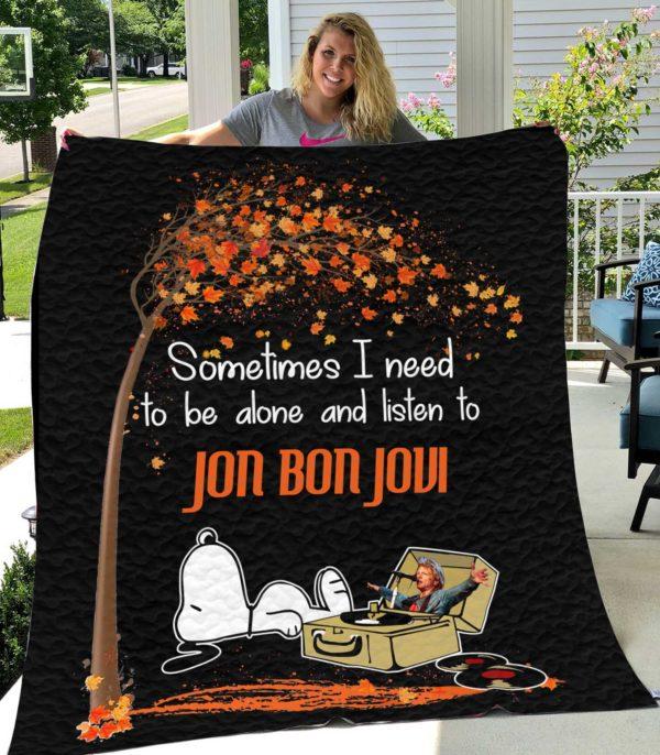 Snoopy And Jon Bon Jovi Quilt Blanket